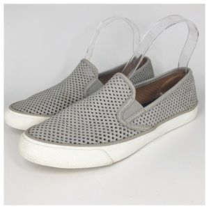 SPERRY Seaside Perforated Leather Slip Ons Gray